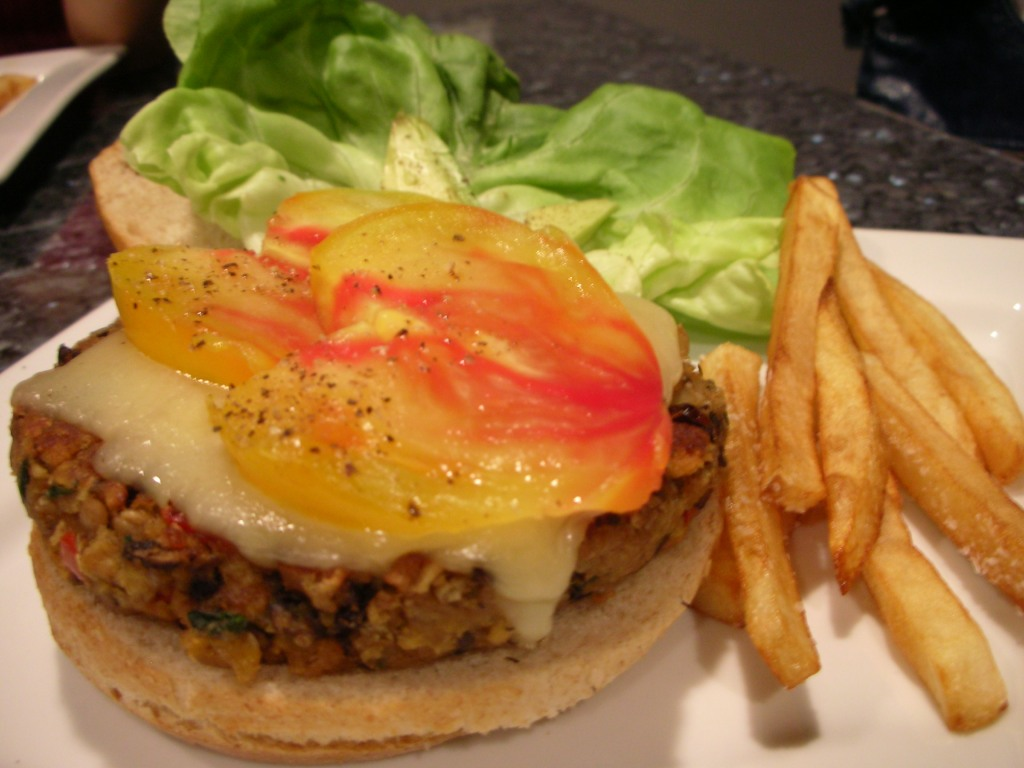 Veggie Burger with Fries!